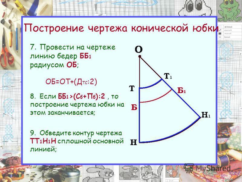 Построение чертежа конической юбки 7. Провести на чертеже линию бедер ББ 1 радиусом ОБ; ОБ=ОТ+(Д ТС :2) 8. Если ББ 1 >(С б +П б ):2, то построение чертежа юбки на этом заканчивается; 9. Обведите контур чертежа ТТ 1 Н 1 Н сплошной основной линией;