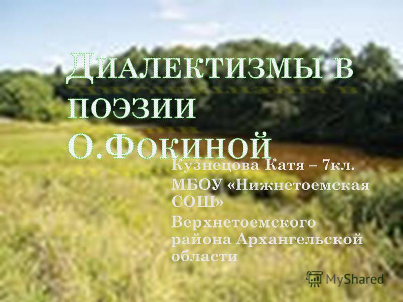 Кузнецова Катя – 7 кл. МБОУ «Нижнетоемская СОШ» Верхнетоемского района Архангельской области