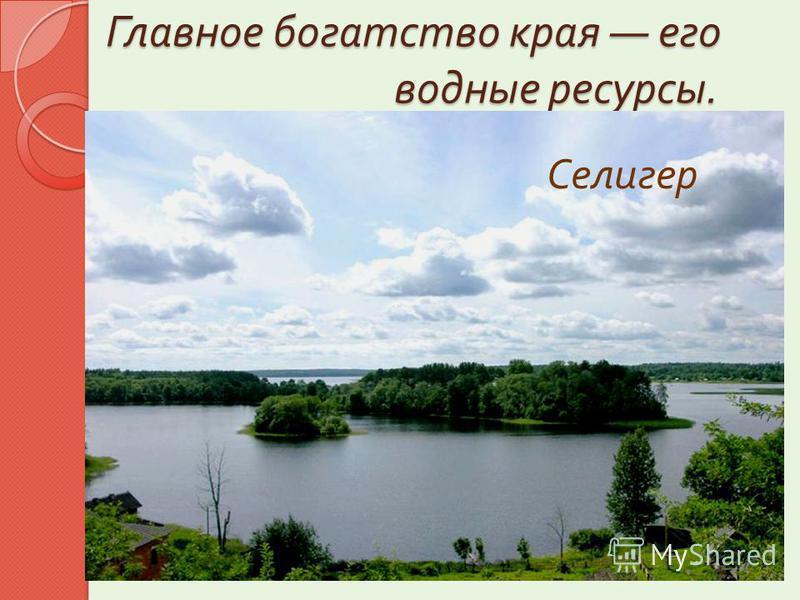 Западная Двина Главное богатство края его водные ресурсы. В области насчитывается 760 рек и 1769 озёр. Озёра, в основном, находятся на западе и северо - западе области. « Жемчужиной » края является озеро Селигер Волга оз. Селигер Мста Начало Волги Ос