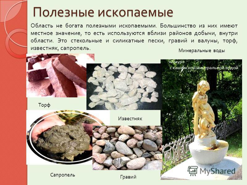 Полезные ископаемые Область не богата полезными ископаемыми. Большинство из них имеют местное значение, то есть используются вблизи районов добычи, внутри области. Это стекольные и силикатные пески, гравий и валуны, торф, известняк, сапропель. « Амур
