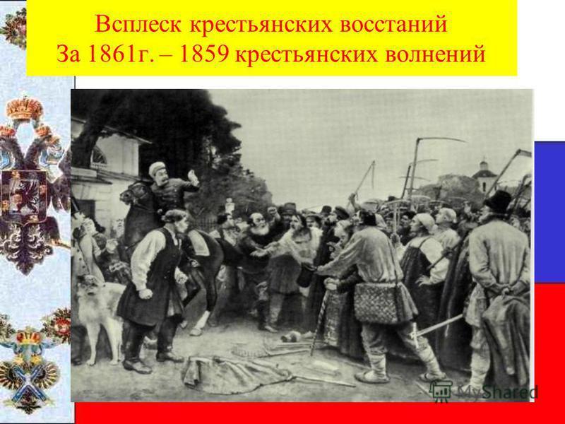 Всплеск крестьянских восстаний За 1861 г. – 1859 крестьянских волнений