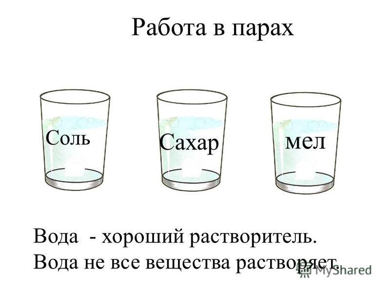 Свойства воды Работа в парах Соль мел Сахар Вода - хороший растворитель. Вода не все вещества растворяет.