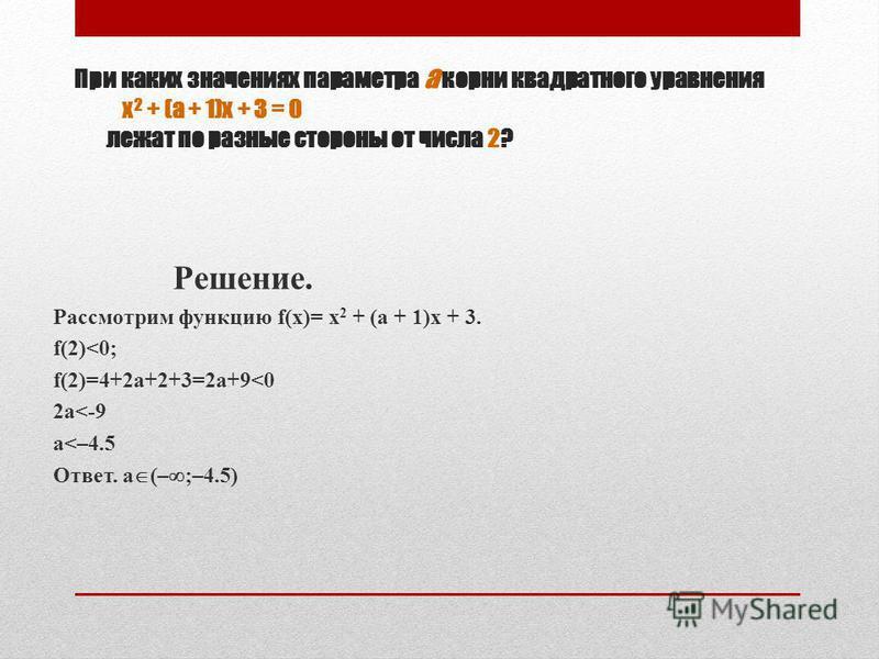 При каких значениях параметра а корни квадратного уравнения х 2 + (а + 1)х + 3 = 0 лежат по разные стороны от числа 2? Решение. Рассмотрим функцию f(x)= х 2 + (а + 1)х + 3. f(2)<0; f(2)=4+2a+2+3=2a+9<0 2a<-9 a<–4.5 Ответ. a (– ;–4.5)