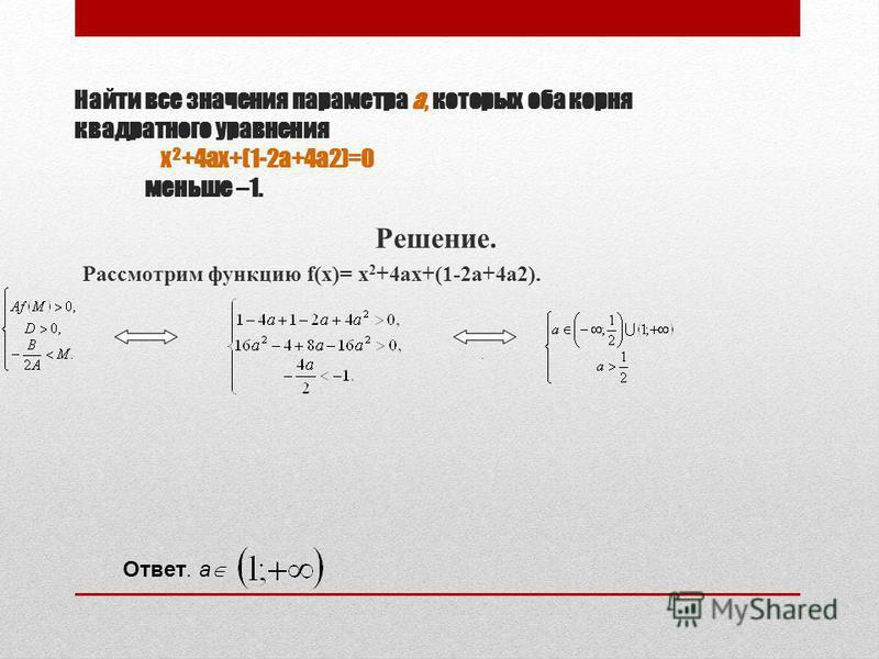 Найти все значения параметра а, которых оба корня квадратного уравнения x 2 +4ax+(1-2a+4a2)=0 меньше –1. Решение. Рассмотрим функцию f(x)= x 2 +4ax+(1-2a+4a2). Ответ. a.