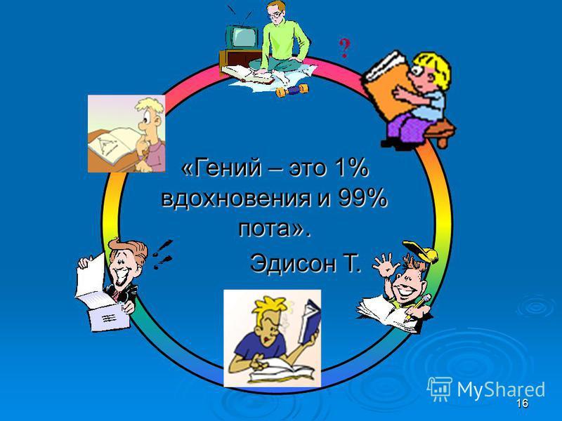 16 «Гений – это 1% вдохновения и 99% пота». Эдисон Т. Эдисон Т.