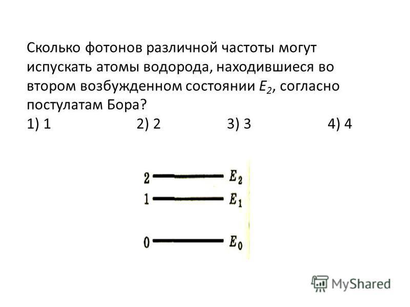 Сколько фотонов различной частоты могут испускать атомы водорода, находившиеся во втором возбужденном состоянии Е 2, согласно постулатам Бора? 1) 1 2) 2 3) 3 4) 4