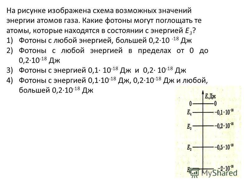 На рисунке изображена схема возможных значений энергии атомов газа. Какие фотоны могут поглощать те атомы, которые находятся в состоянии с энергией Е 3 ? 1)Фотоны с любой энергией, большей 0,2·10 -18 Дж 2)Фотоны с любой энергией в пределах от 0 до 0,