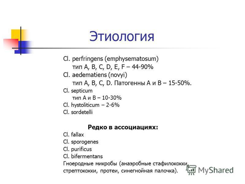 Этиология Cl. perfringens (emphysematosum) тип A, B, C, D, E, F – 44-90% Cl. aedematiens (novyi) тип A, B, C, D. Патогенны A и B – 15-50%. Cl. septicum тип A и B – 10-30% Cl. hystoliticum – 2-6% Cl. sordetelli Редко в ассоциациях: Cl. fallax Cl. spor