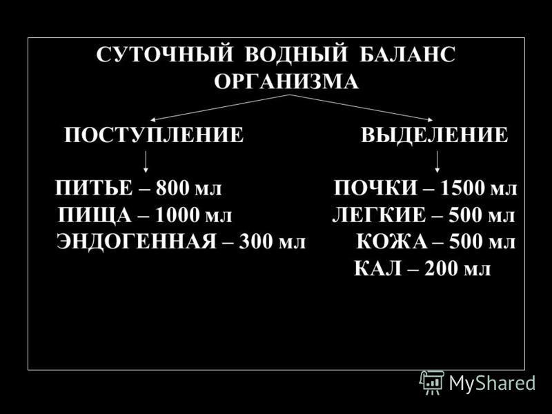 СУТОЧНЫЙ ВОДНЫЙ БАЛАНС ОРГАНИЗМА ПОСТУПЛЕНИЕ ВЫДЕЛЕНИЕ ПИТЬЕ – 800 мл ПОЧКИ – 1500 мл ПИЩА – 1000 мл ЛЕГКИЕ – 500 мл ЭНДОГЕННАЯ – 300 мл КОЖА – 500 мл КАЛ – 200 мл