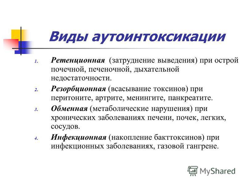 Виды аутоинтоксикации 1. Ретенционная (затруднение выведения) при острой почечной, печеночной, дыхательной недостаточности. 2. Резорбционная (всасывание токсинов) при перитоните, артрите, менингите, панкреатите. 3. Обменная (метаболические нарушения)