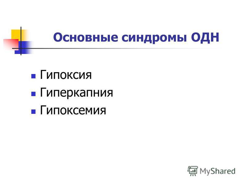 Основные синдромы ОДН Гипоксия Гиперкапния Гипоксемия