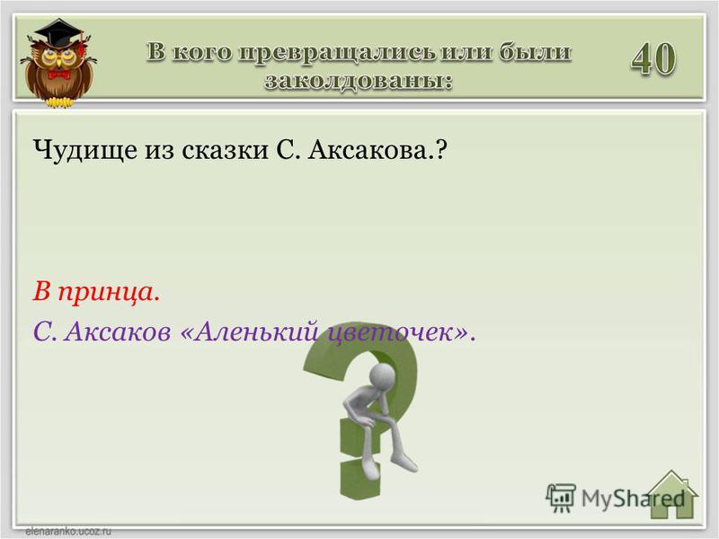 В принца. С. Аксаков «Аленький цветочек». Чудище из сказки С. Аксакова.?