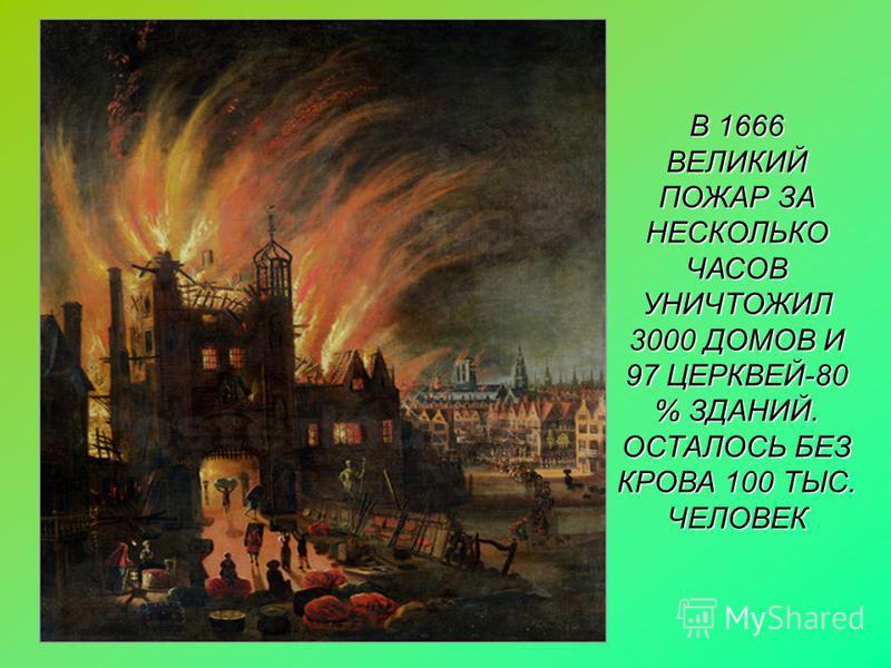В 1666 ВЕЛИКИЙ ПОЖАР ЗА НЕСКОЛЬКО ЧАСОВ УНИЧТОЖИЛ 3000 ДОМОВ И 97 ЦЕРКВЕЙ-80 % ЗДАНИЙ. ОСТАЛОСЬ БЕЗ КРОВА 100 ТЫС. ЧЕЛОВЕК