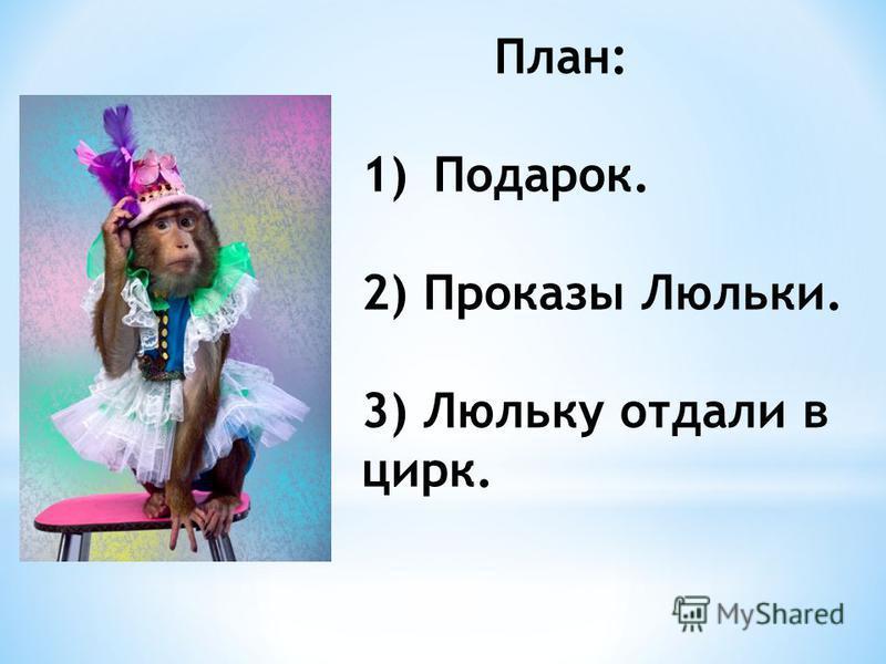 План: 1)Подарок. 2) Проказы Люльки. 3) Люльку отдали в цирк.
