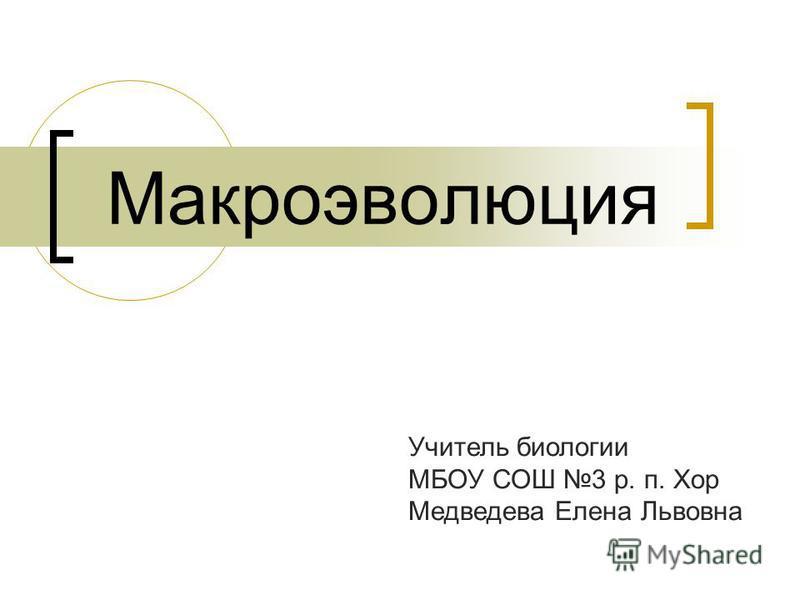 Макроэволюция Учитель биологии МБОУ СОШ 3 р. п. Хор Медведева Елена Львовна
