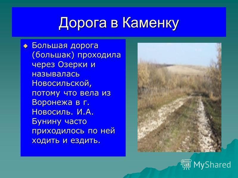 Дорога в Каменку Большая дорога (большак) проходила через Озерки и называлась Новосильской, потому что вела из Воронежа в г. Новосиль. И.А. Бунину часто приходилось по ней ходить и ездить. Большая дорога (большак) проходила через Озерки и называлась