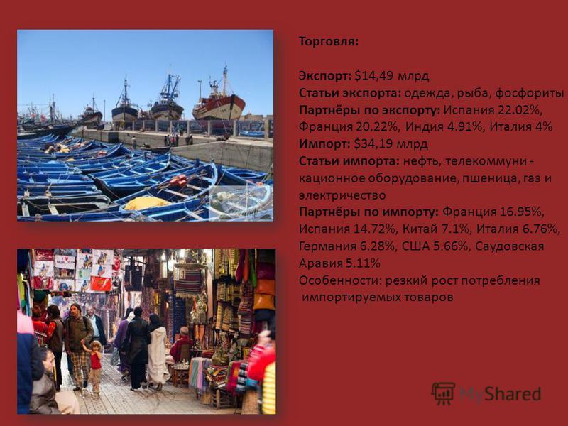 Торговля: Экспорт: $14,49 млрд Статьи экспорта: одежда, рыба, фосфориты Партнёры по экспорту: Испания 22.02%, Франция 20.22%, Индия 4.91%, Италия 4% Импорт: $34,19 млрд Статьи импорта: нефть, телекоммуникационное оборудование, пшеница, газ и электрич