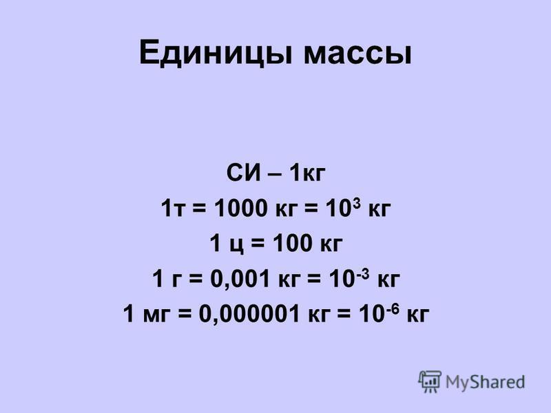 Единицы массы СИ – 1 кг 1 т = 1000 кг = 10 3 кг 1 ц = 100 кг 1 г = 0,001 кг = 10 -3 кг 1 мг = 0,000001 кг = 10 -6 кг