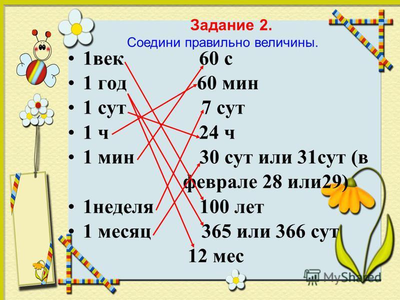 1 век 60 с 1 год 60 мин 1 сут 7 сут 1 ч 24 ч 1 мин 30 сут или 31 сут (в феврале 28 или 29) 1 неделя 100 лет 1 месяц 365 или 366 сут 12 мес Задание 2. Соедини правильно величины.