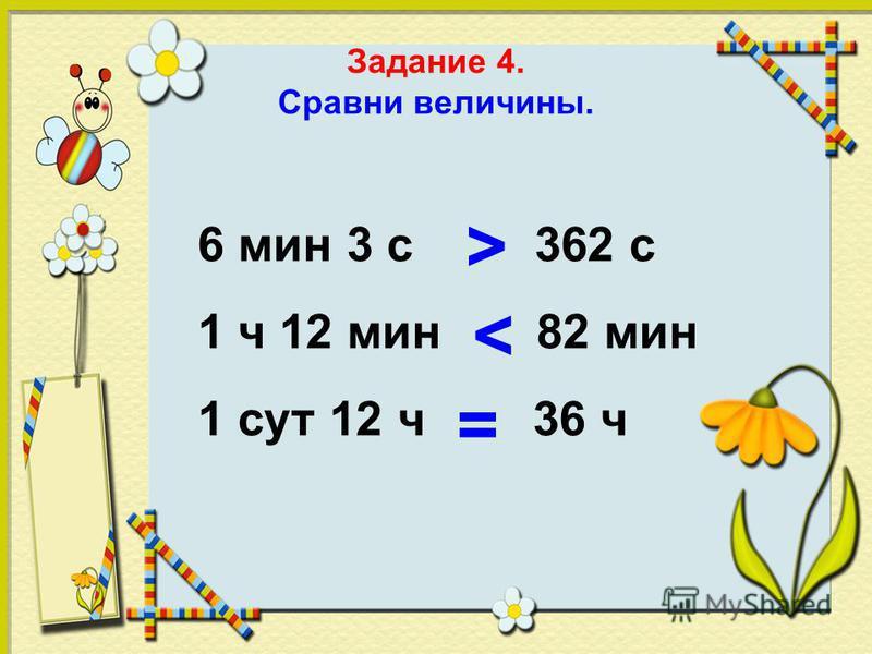Задание 4. Сравни величины. 6 мин 3 с 362 с 1 ч 12 мин 82 мин 1 сут 12 ч 36 ч > < =