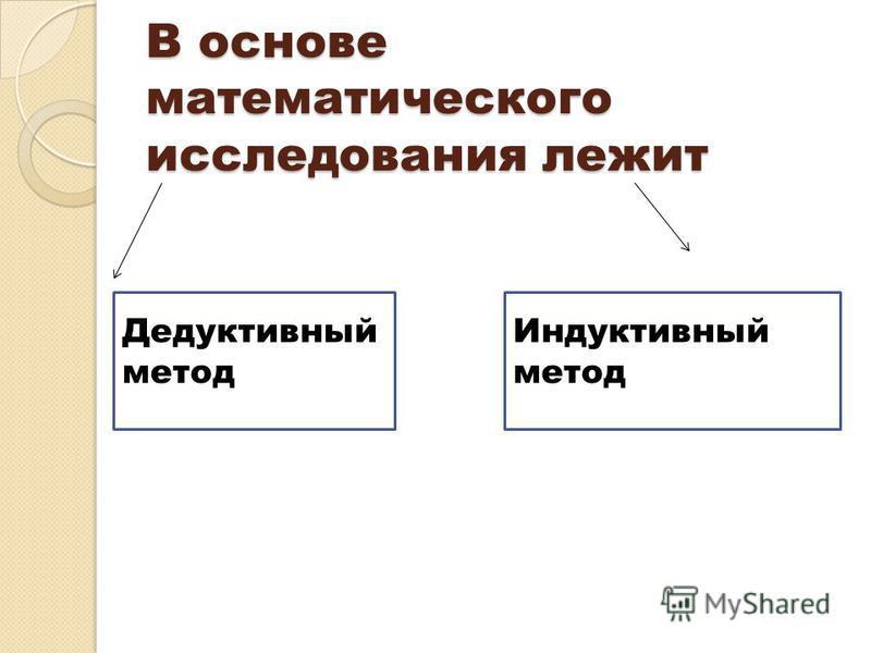 В основе математического исследования лежит Дедуктивный метод Индуктивный метод