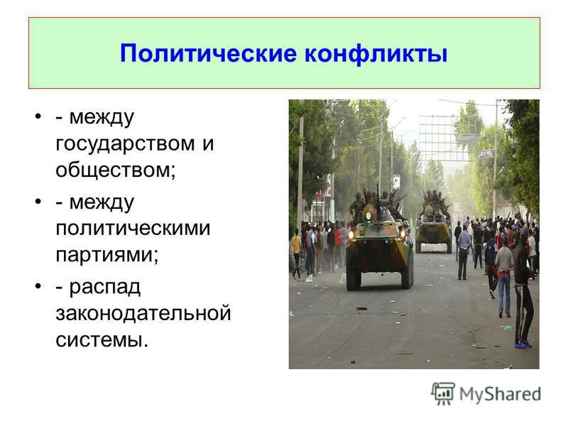 Политические конфликты - между государством и обществом; - между политическими партиями; - распад законодательной системы.