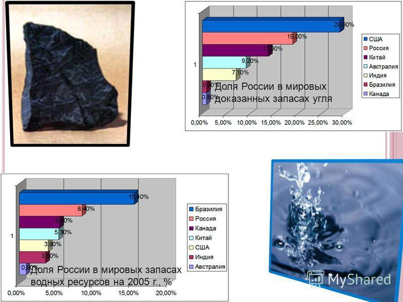 Доля России в мировых доказанных запасах угля Доля России в мировых запасах водных ресурсов на 2005 г., %