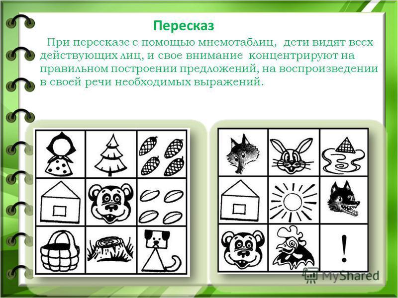 Пересказ При пересказе с помощью мнемотаблиц, дети видят всех действующих лиц, и свое внимание концентрируют на правильном построении предложений, на воспроизведении в своей речи необходимых выражений.