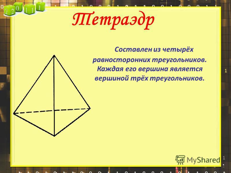 Тетраэдр С оставлен из четырёх равносторонних треугольников. Каждая его вершина является вершиной трёх треугольников.