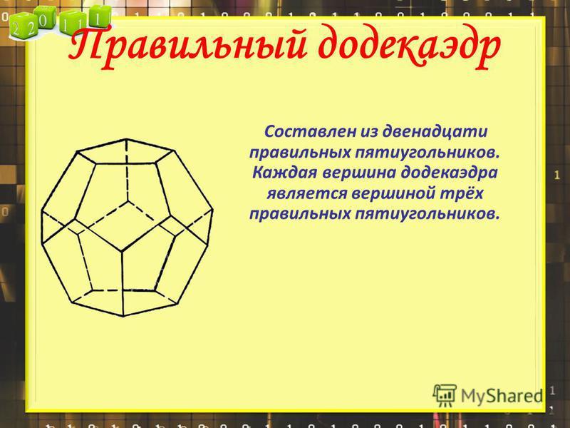 Правильный додекаэдр Составлен из двенадцати правильных пятиугольников. Каждая вершина додекаэдра является вершиной трёх правильных пятиугольников.