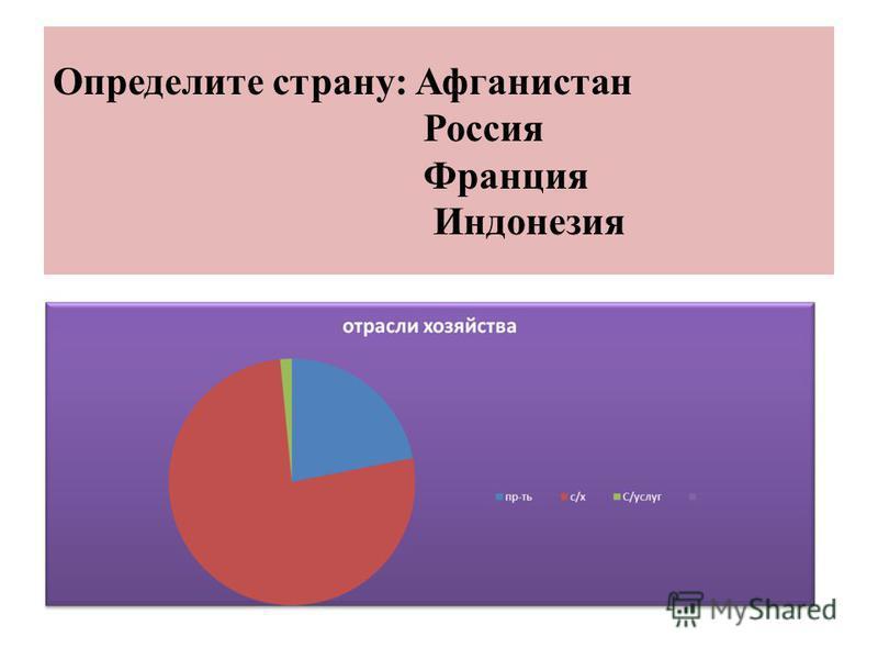 Определите страну: Афганистан Россия Франция Индонезия
