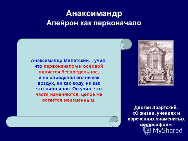 Анаксимандр Апейрон как первоначало Диоген Лаэртский. «О жизни, учениях и изречениях знаменитых философов». Анаксимандр Милетский... учил, что первоначалом и основой является беспредельное, и не определял его ни как воздух, ни как воду, ни как что-ли