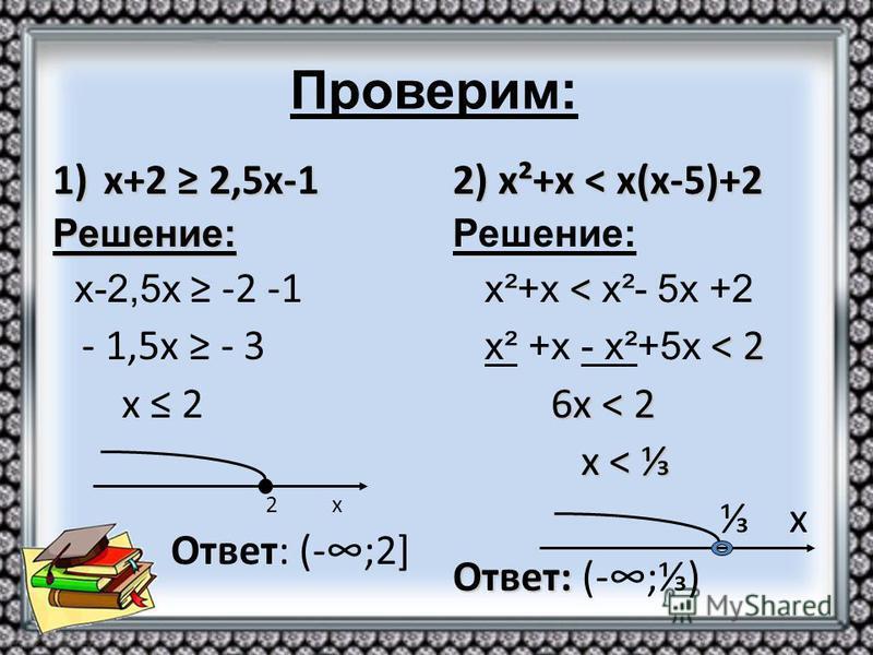 1)х+2 2,5 х-1 Решение: х-2,5 х -2 -1 - 1,5 х - 3 х 2 2 х Ответ: (-;2] 2) х²+х < х(х-5)+2 Решение: < х²+х < х²- 5 х +2 < 2 х² +х - х²+5 х < 2 6 х < 2 6 х < 2 х < х < х Ответ: Ответ: (-;)