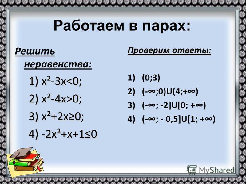 Решить неравенства: 1) х²-3 х<0; 1) х²-3 х<0; 2) х²-4 х>0; 2) х²-4 х>0; 3) х²+2 х 0; 3) х²+2 х 0; 4) -2 х²+х+10 4) -2 х²+х+10 Проверим ответы: 1)(0;3) 2)(-;0)U(4;+) 3)(-; -2]U[0; +) 4)(-; - 0,5]U[1; +)