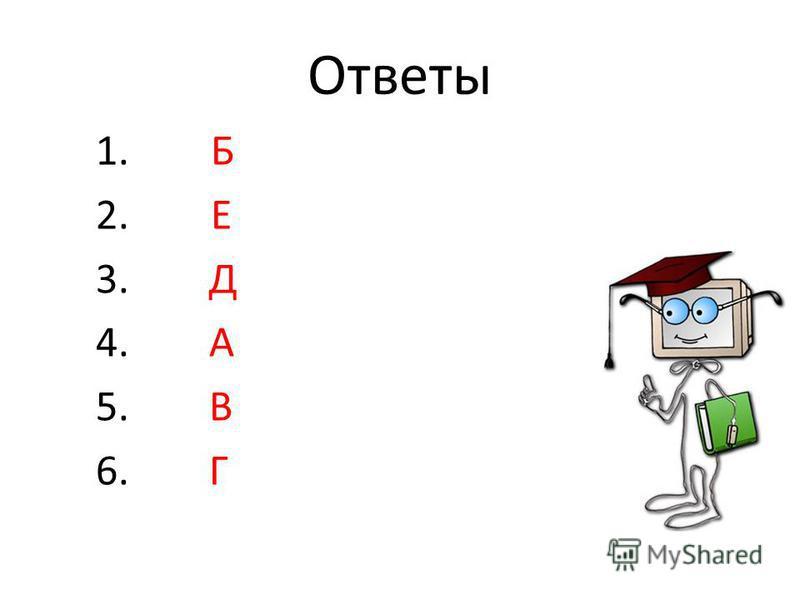 Ответы 1. Б 2. Е 3. Д 4. А 5. В 6. Г