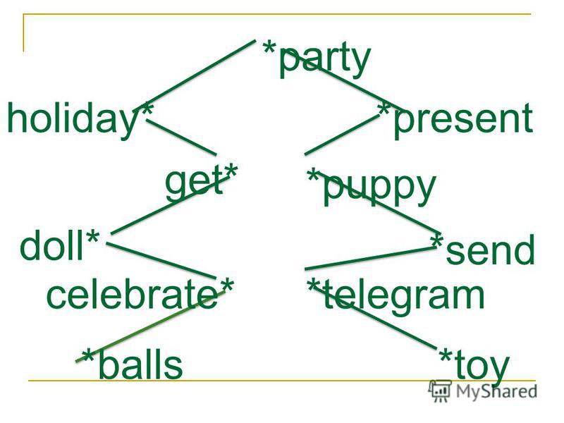 holiday* get* doll* celebrate* *balls *party *present *puppy *send *telegram *toy