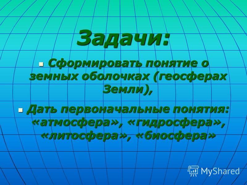 Задачи: Сформировать понятие о земных оболочках (геосферах Земли), Сформировать понятие о земных оболочках (геосферах Земли), Дать первоначальные понятия: «атмосфера», «гидросфера», «лотосфера», «биосфера» Дать первоначальные понятия: «атмосфера», «г