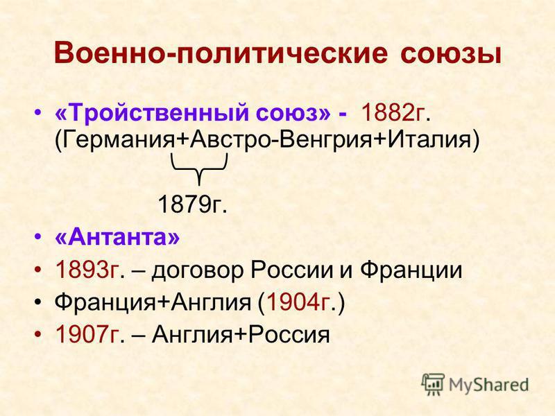 Военно-политические союзы «Тройственный союз» - 1882 г. (Германия+Австро-Венгрия+Италия) 1879 г. «Антанта» 1893 г. – договор России и Франции Франция+Англия (1904 г.) 1907 г. – Англия+Россия