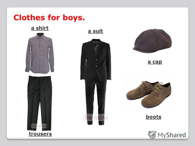 Clothes for boys. a shirt trousers a suit a cap boots