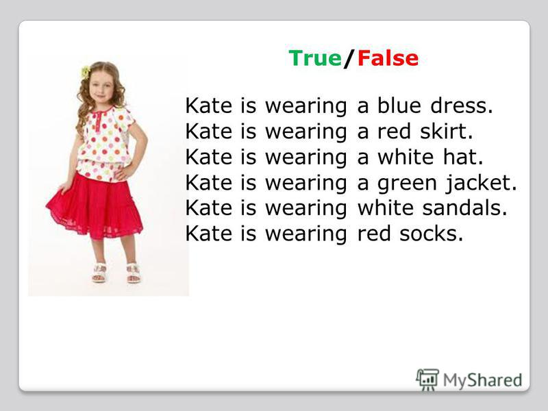 True/False Kate is wearing a blue dress. Kate is wearing a red skirt. Kate is wearing a white hat. Kate is wearing a green jacket. Kate is wearing white sandals. Kate is wearing red socks.