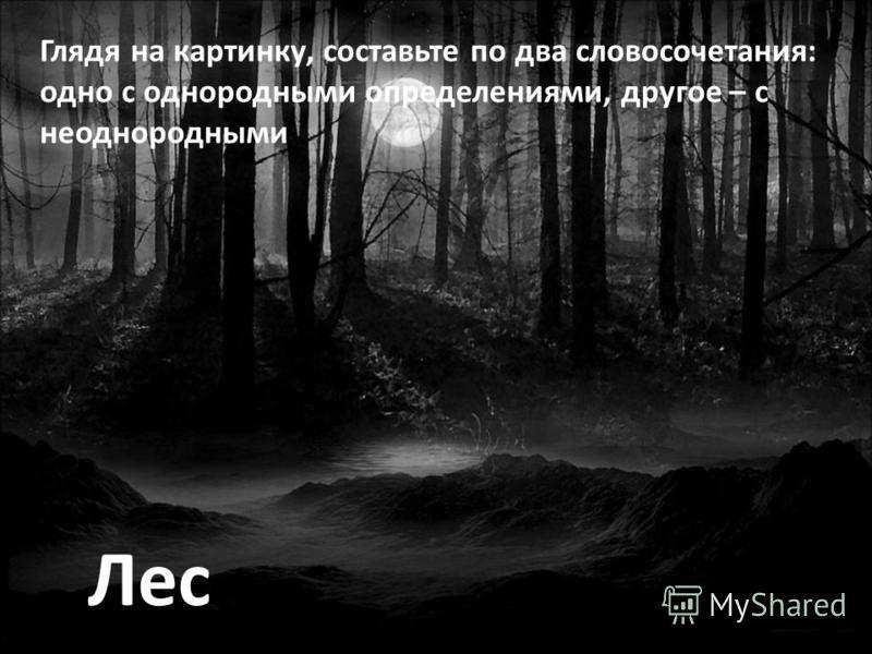Лес Глядя на картинку, составьте по два словосочетания: одно с однородными определениями, другое – с неоднородными