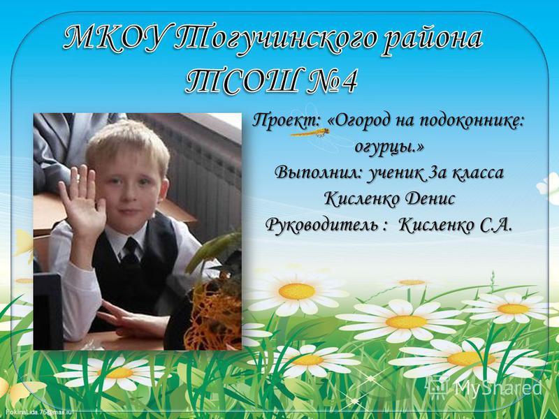 FokinaLida.75@mail.ru Проект: «Огород на подоконнике: огурцы.» Выполнил: ученик 3 а класса Кисленко Денис Руководитель : Кисленко С.А.