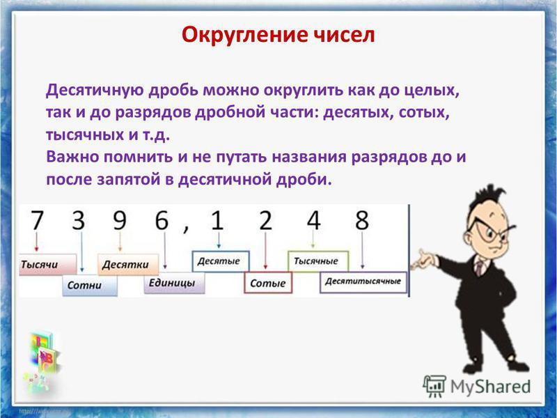 Округление чисел Десятичную дробь можно округлить как до целых, так и до разрядов дробной части: десятых, сотых, тысячных и т.д. Важно помнить и не путать названия разрядов до и после запятой в десятичной дроби.