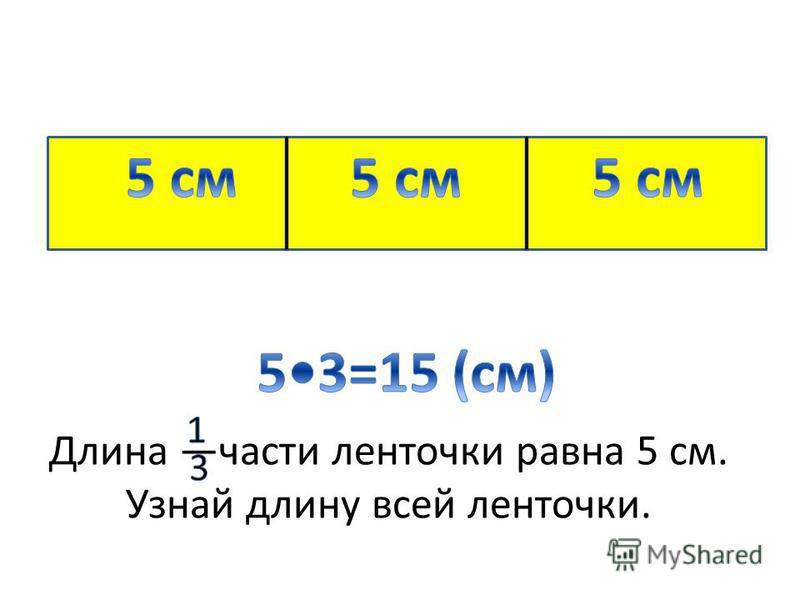 Длина части ленточки равна 5 см. Узнай длину всей ленточки. 3