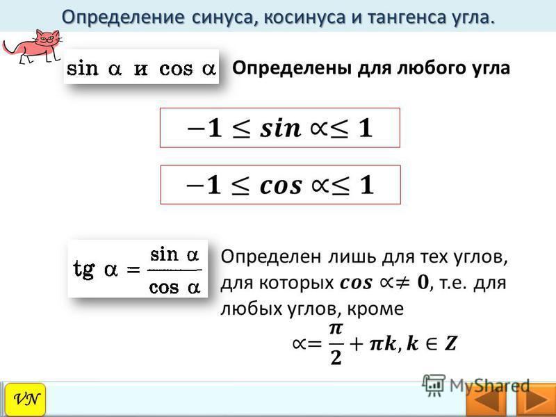 Определение синуса, косинуса и тангенса угла. VN Определены для любого угла