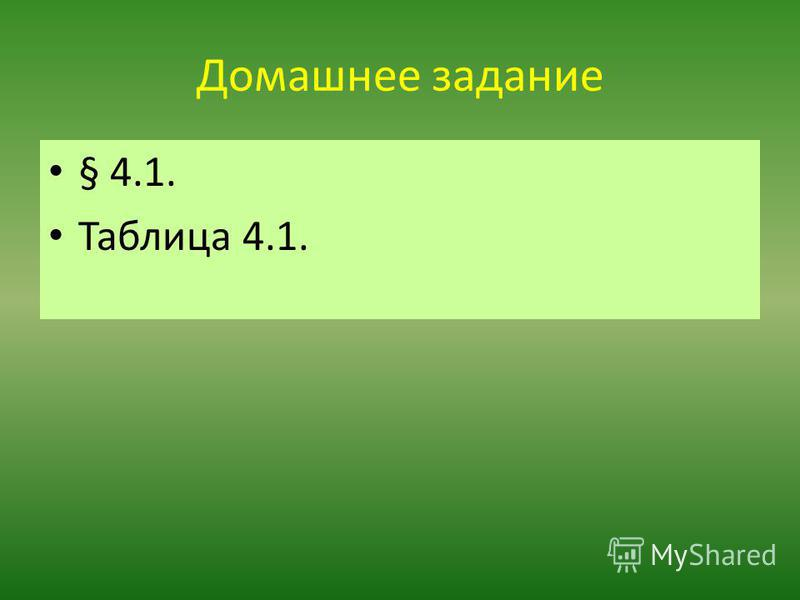 Домашнее задание § 4.1. Таблица 4.1.