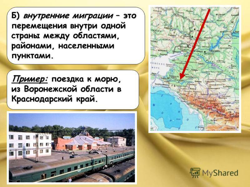 Б) внутренние миграции – это перемещения внутри одной страны между областями, районами, населенными пунктами. Пример: поездка к морю, из Воронежской области в Краснодарский край.