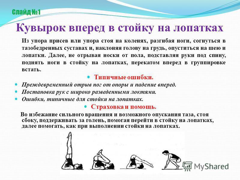 Слайд 1 Слайд 1 Кувырок вперед в стойку на лопатках Из упора присев или упора стоя на коленях, разгибая ноги, согнуться в тазобедренных суставах и, наклоняя голову на грудь, опуститься на шею и лопатки. Далее, не отрывая носки от пола, подставляя рук