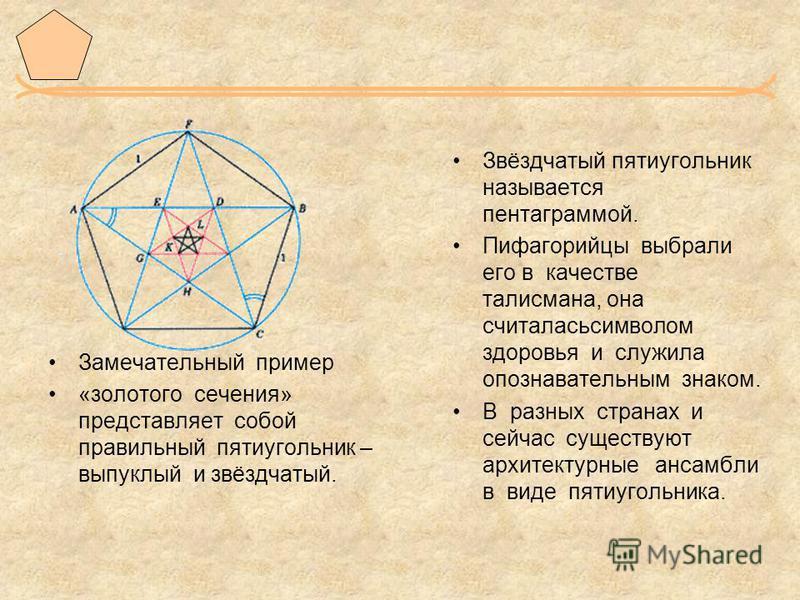 Звёздчатый пятиугольник называется пентаграммой. Пифагорийцы выбрали его в качестве талисмана, она считалась символом здоровья и служила опознавательным знаком. В разных странах и сейчас существуют архитектурные ансамбли в виде пятиугольника. Замечат
