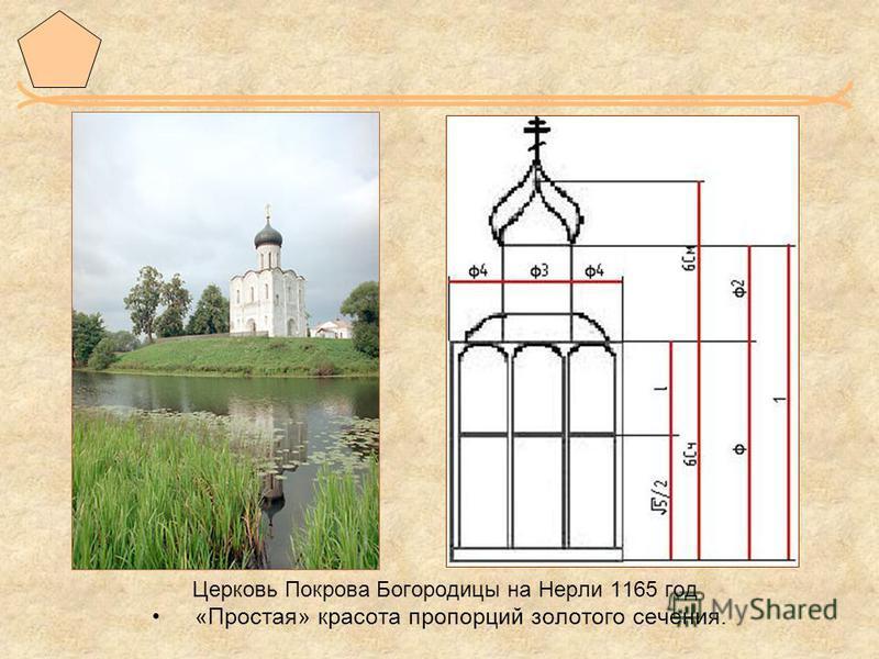 Церковь Покрова Богородицы на Нерли 1165 год «Простая» красота пропорций золотого сечения.